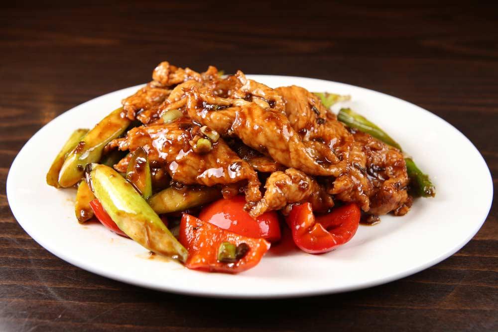 j08 chicken & asparagus w. special sauce 成都酱味鸡