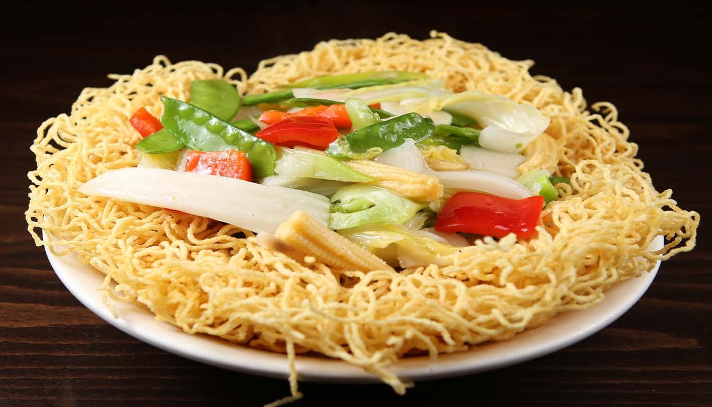 n073 vegetable pan fried noodles 素两面黄