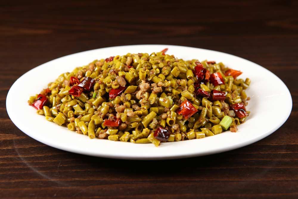 p11 minced pork w. sichuan long green beans 肉末泡姜豆 [spicy]