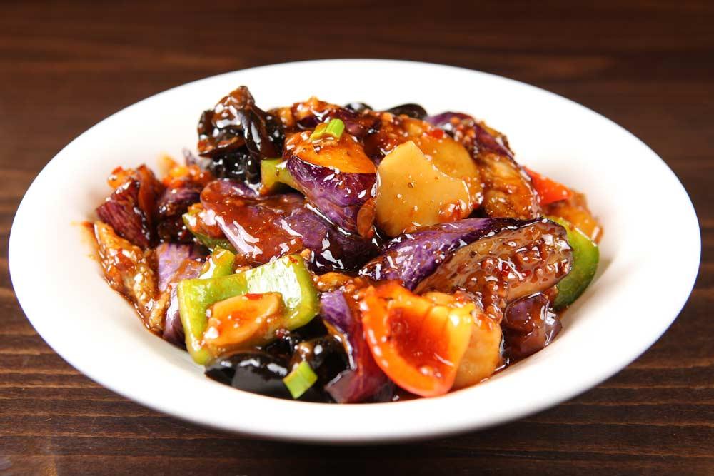 v05 chinese eggplant w. yu xiang sauce 鱼香茄子 [spicy]